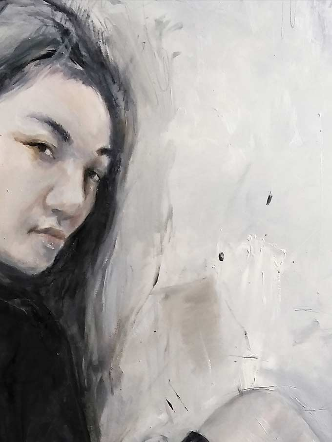 Hong Kong artist Detail of painting Oil on Canvas by Justo Cascante III