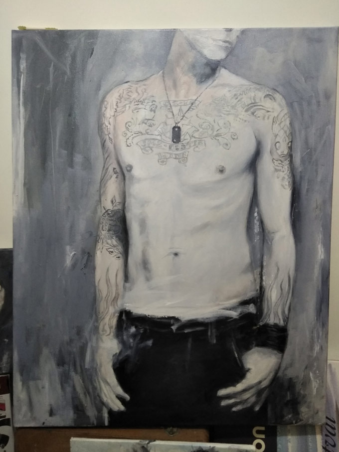 Chester Bennington Linkin Park Hong Kong artist painting Oil on Canvas by Justo Cascante III